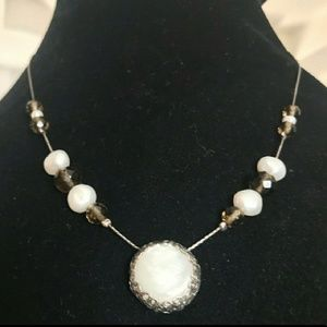 💎VTG 925 Mother Of Pearl SS Disc Necklace